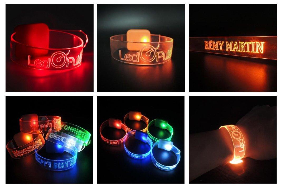 braccialetto LED luminoso, gadget per eventi